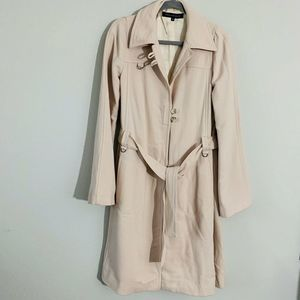French Connection Wool Nude Trench Coat Sz 10 MBQ